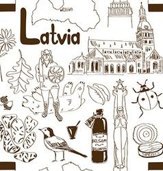 Sketch Latvia seamless pattern vector image