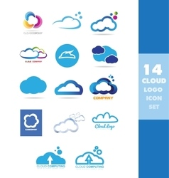 Cloud data storage logo icon set vector