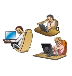 Cartoon businessmen working on computers vector