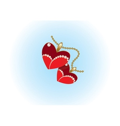 two heart pendants vector image