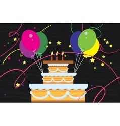 Big birthday cake with balloons vector