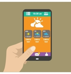 Hand holding smart phone weather icons for web vector