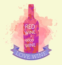 Red wine tasting and love card vector