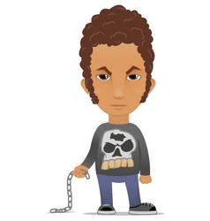 Cartoon hooligan with a chain vector