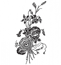 antique flowers engraving vector image vector image