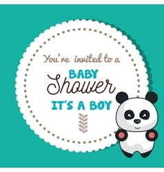 baby shower invitation card with panda design vector image vector image