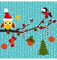 Birds are celebrating Christmas in the forest vector image