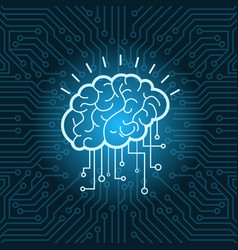 Brain digital form icon over blue circuit vector