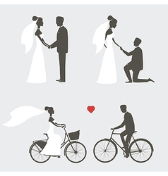 Bride and groom poses for wedding invitation vector image