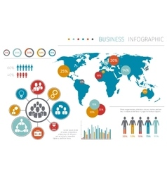 Business people world map infographic vector