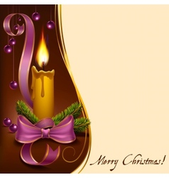 Christmas lighted candle with beads vector image