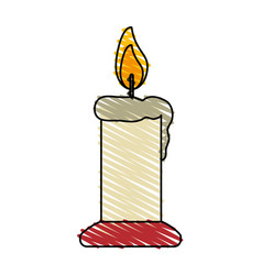 Colorful crayon silhouette of candle lit vector