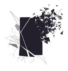 cracked phone screen shatters into pieces broken vector image vector image
