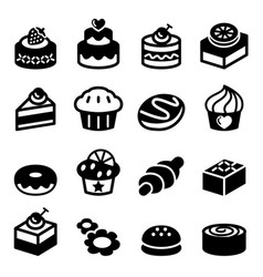 Dessert bakery icon set vector