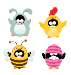 Easter Penguin Set vector image