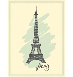 Eiffel Tower drawn in a simple sketch style vector image vector image