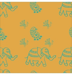 Elephantspeacocks paisley seamless pattern for vector image