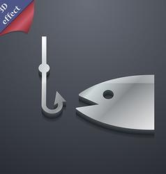 Fishing icon symbol 3d style trendy modern design vector