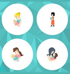 Flat icon mam set of baby newborn baby child and vector