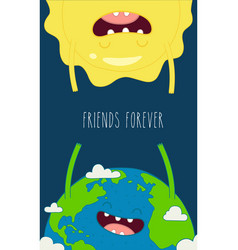 Funny planet earth gives your love the sun use vector