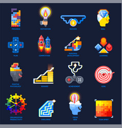 Gamification motivation flat icons set vector