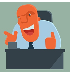 Happy boss pointing and giving thumbs up vector