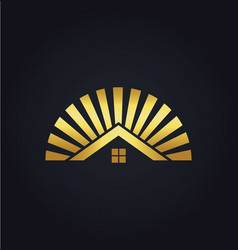 house shine icon gold logo vector image vector image