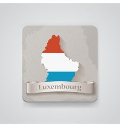 Icon of luxembourg map with flag vector
