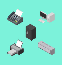 Isometric business set of wall cooler computer vector