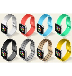 Isometric smart watch in six colors vector