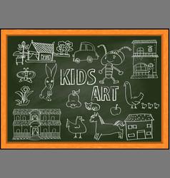 kids art doodle vector image