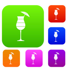 Layered cocktail with umbrella set collection vector