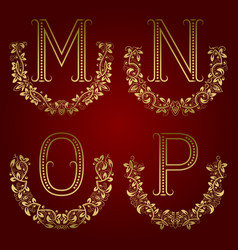 M n o p vintage monograms in floral wreaths vector