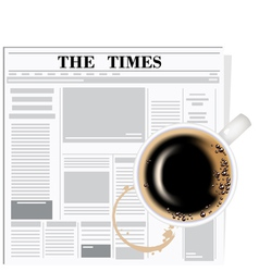 newspaper and coffee vector image vector image