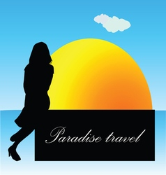 paradise travel with girl vector image vector image
