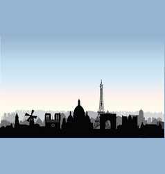 paris city buildings silhouette french urban vector image vector image