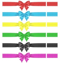 Polka dot bows with ribbons vector