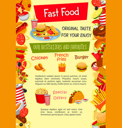Poster for fast food restaurant template vector