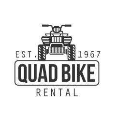 Quad bike hire label design black and white vector
