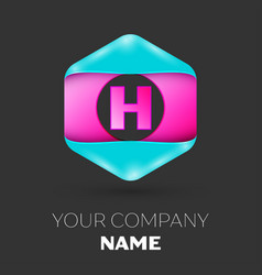 Realistic letter h logo in colorful hexagonal vector