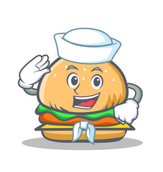 sailor burger character fast food vector image vector image
