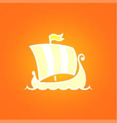 scandinavian drakkar on orange background vector image vector image