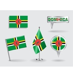 Set of dominican pin icon and map pointer flags vector