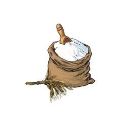 Sketch flour bag wooden scoop isolated vector
