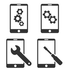 Smartphone setup tools flat icon set vector