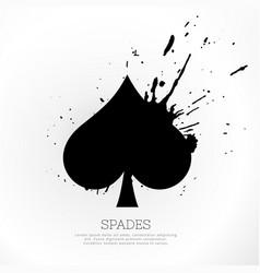 spades symbol with ink splatter vector image