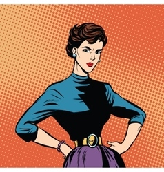 Strict beautiful retro woman vector image