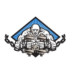 Strongman with dumbbell in chains vector