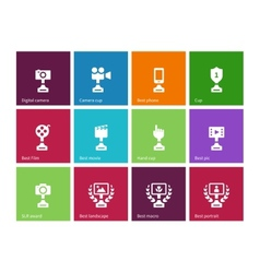 Trophy icons on color background vector image