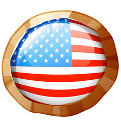united states of america flag on round badge vector image